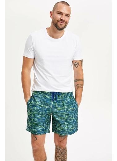 DeFacto Diz Üstü Boy Deniz Şortu Mavi